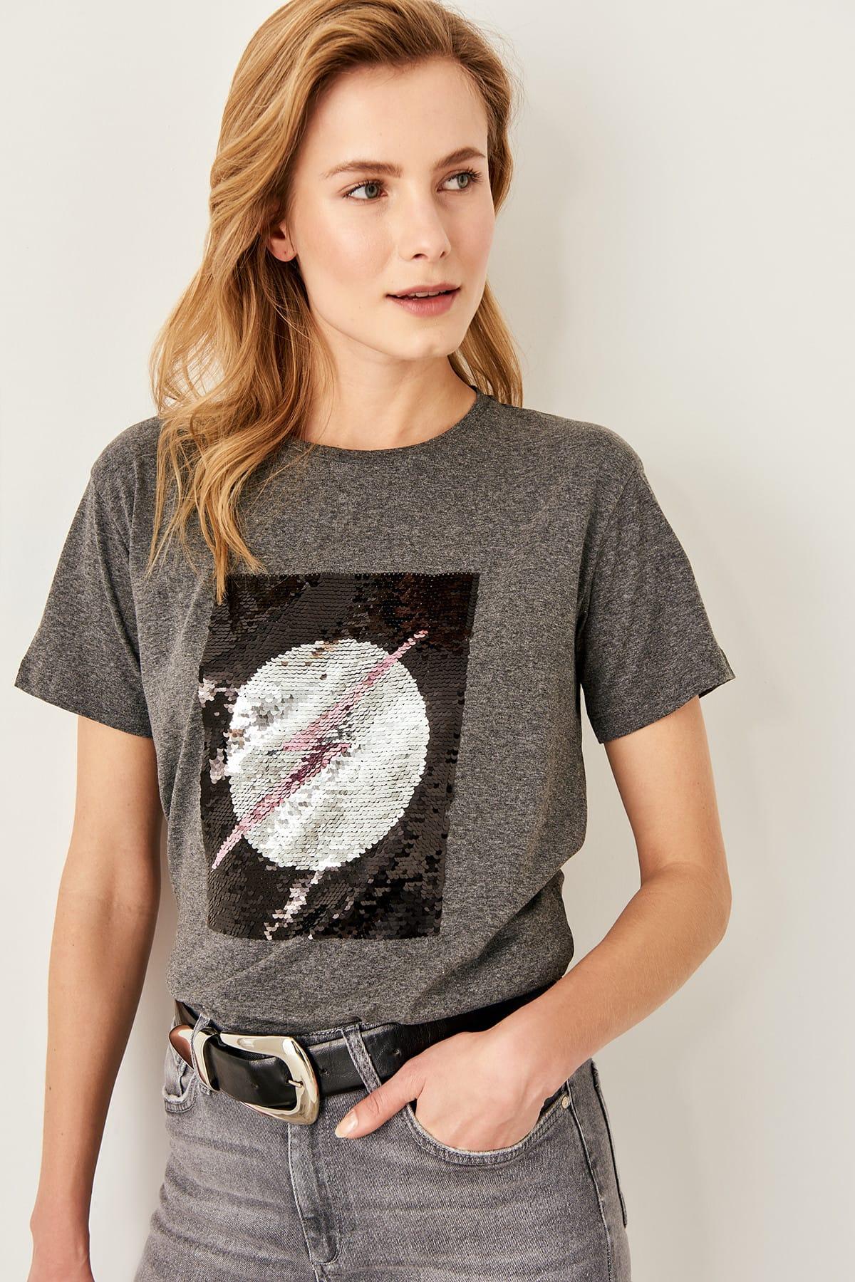 Trendyol Anthracite Sequin Basic Knitting t-shirt