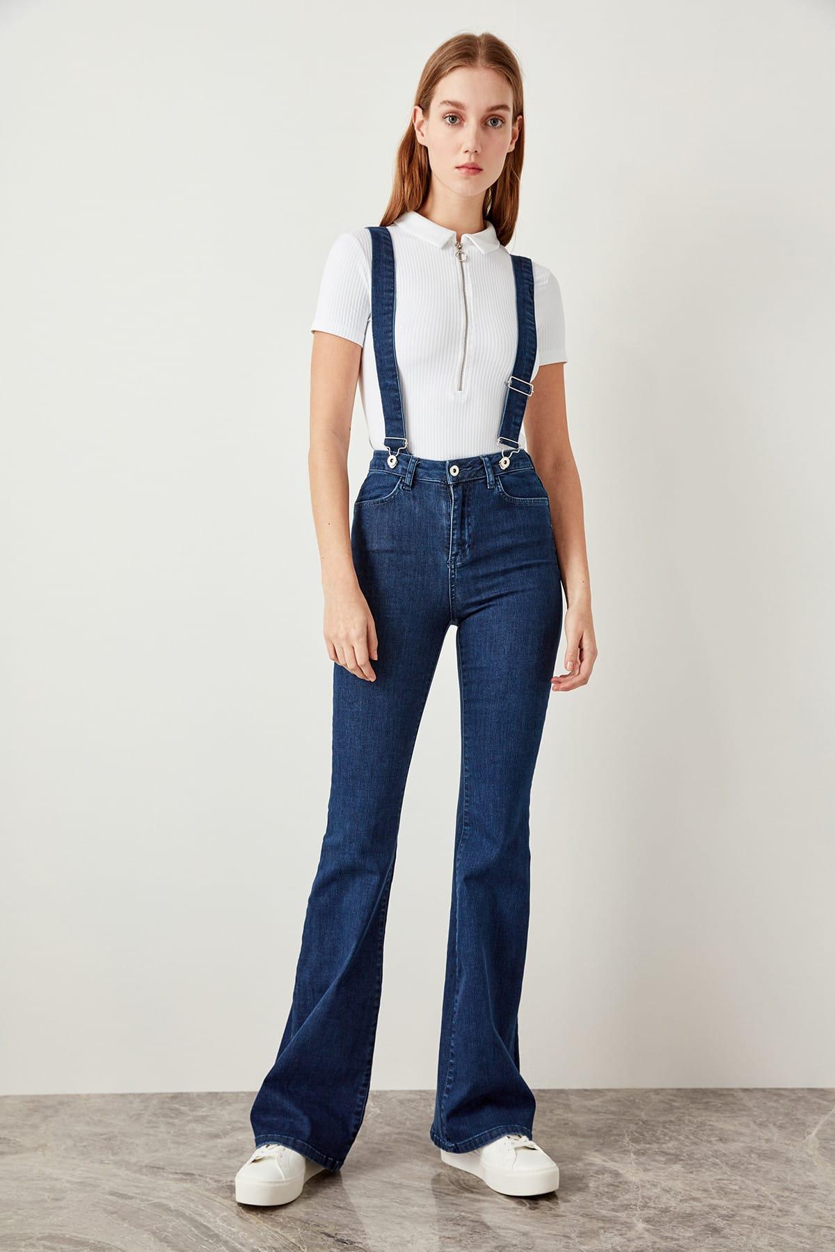 Trendyol Navy Blue Clip-on High Waist Flare Jeans