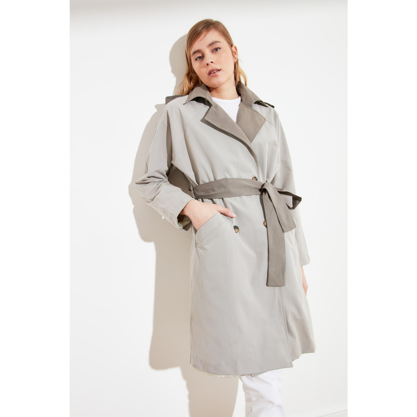 Trendyol Gray Color Block Rear Windcover Detailed Belted Long Railway