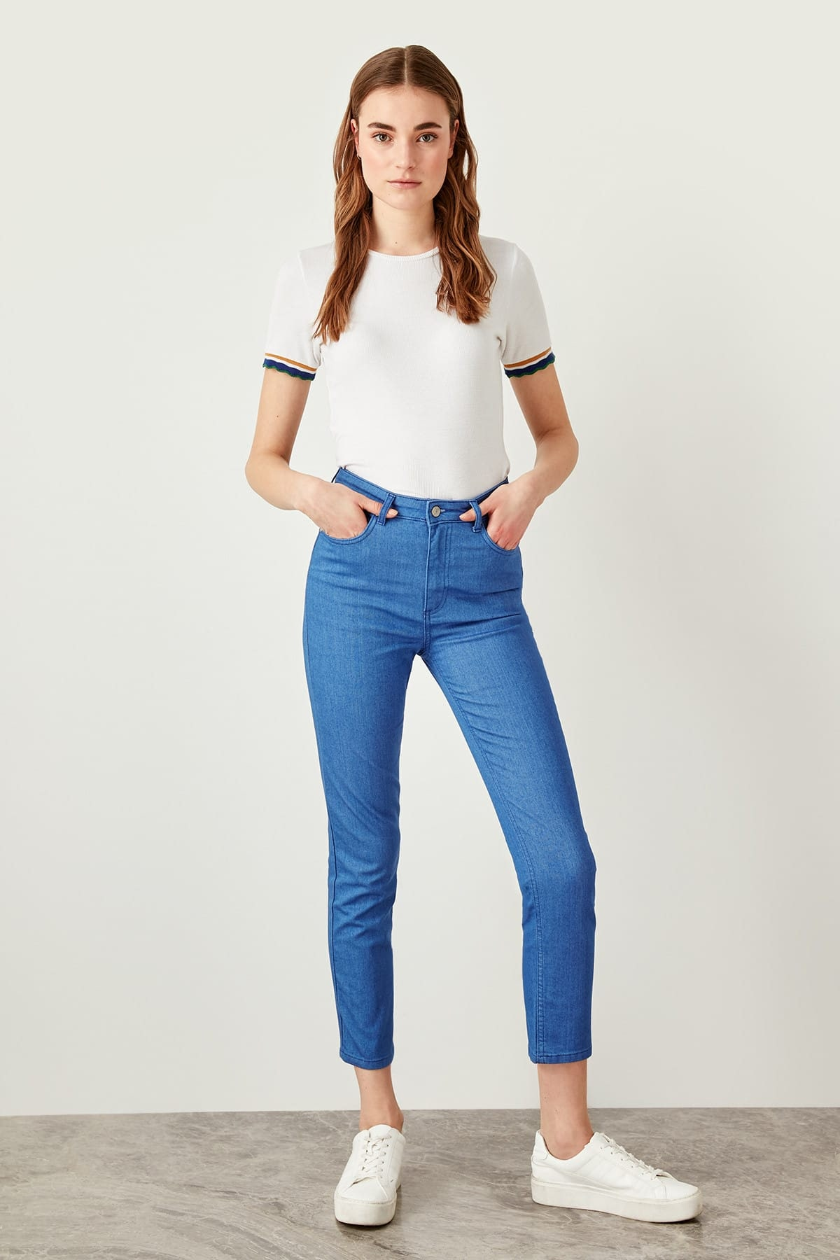 Trendyol Blue High Waist Slim Fit Jeans
