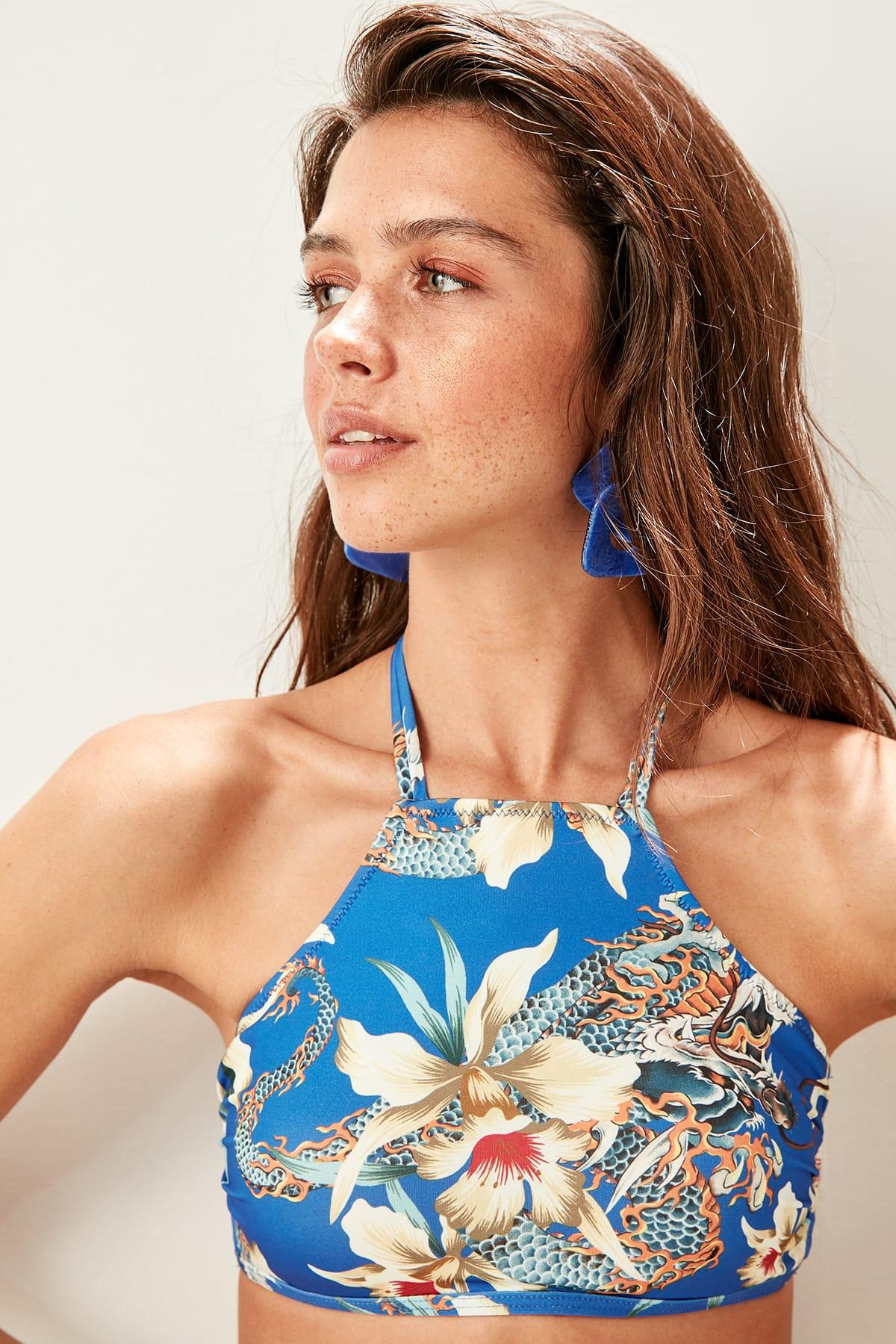 Trendyol Multi-colored Halter Bikini TOP dámsky