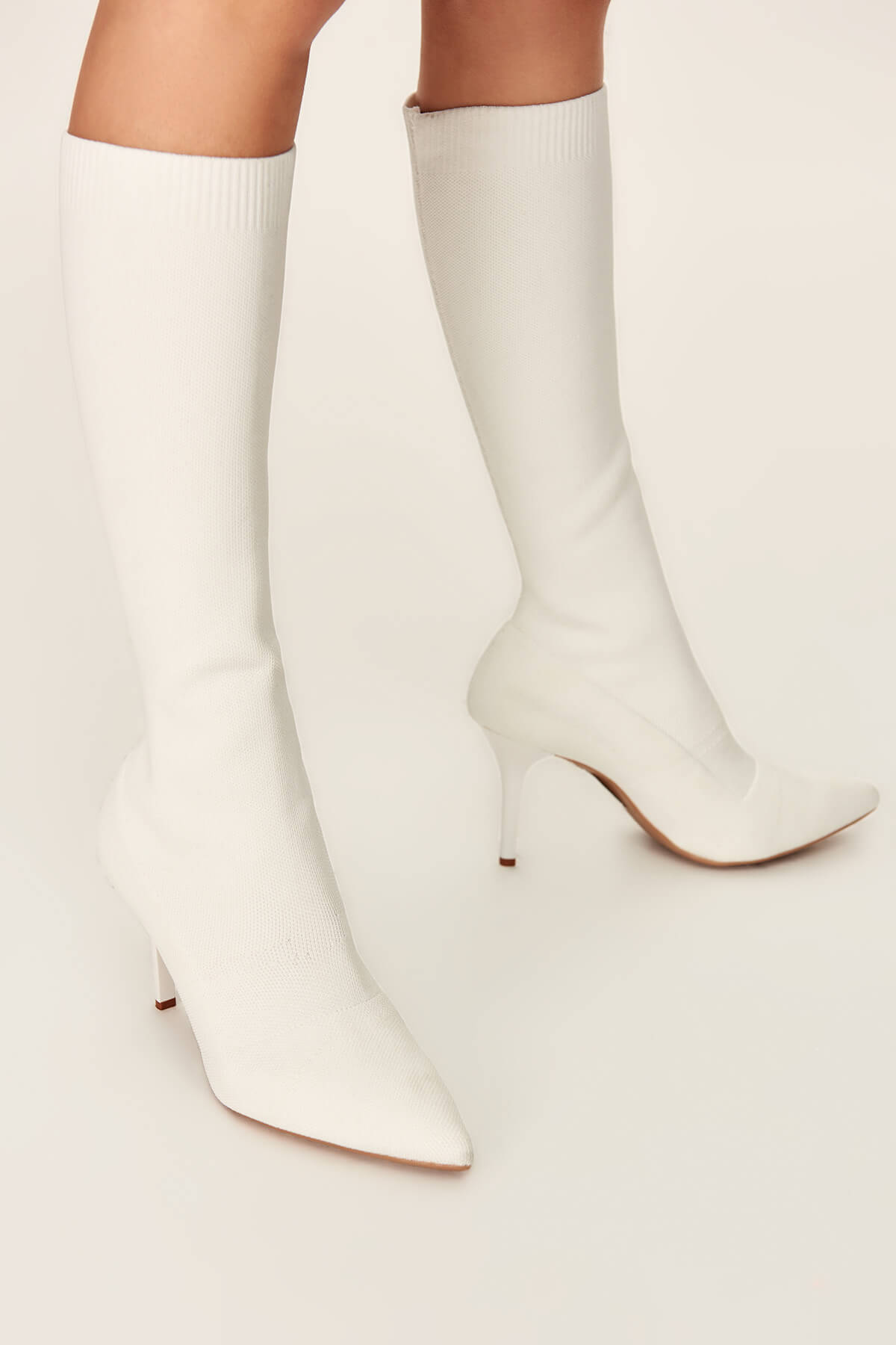 Trendyol White Knitted Women's Boots