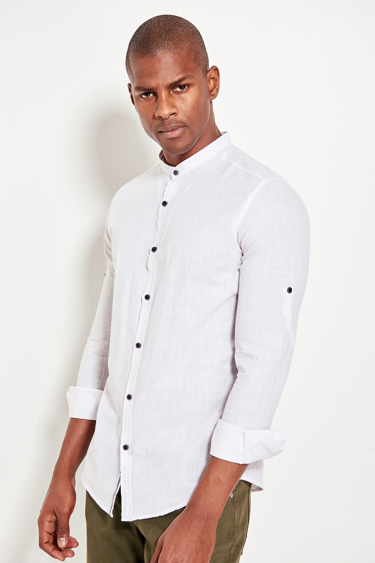 Trendyol White Male Control Collar Long Sleeve Basic Slim Fit Shirts