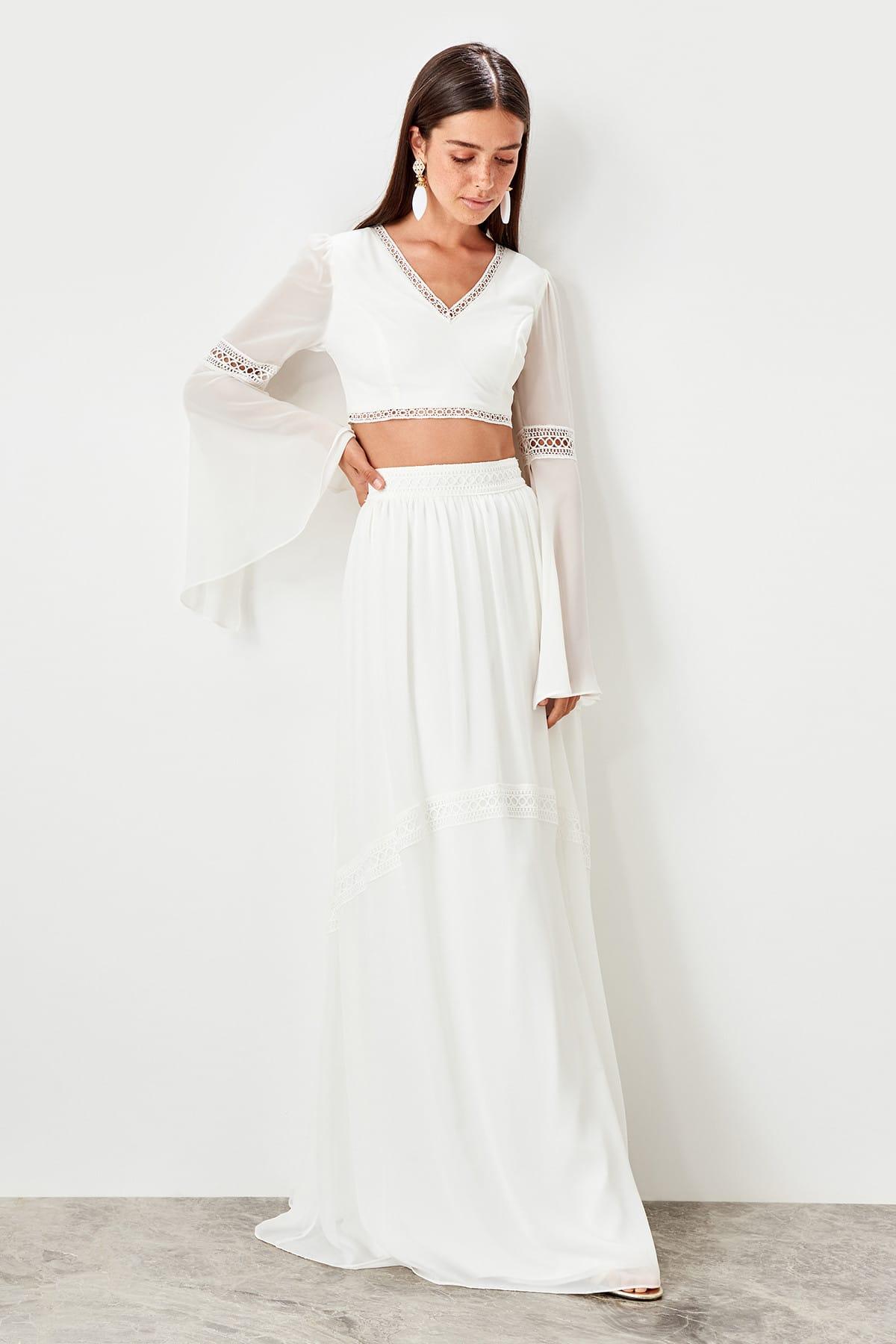 Trendyol Ecru Stripe Detailed skirt