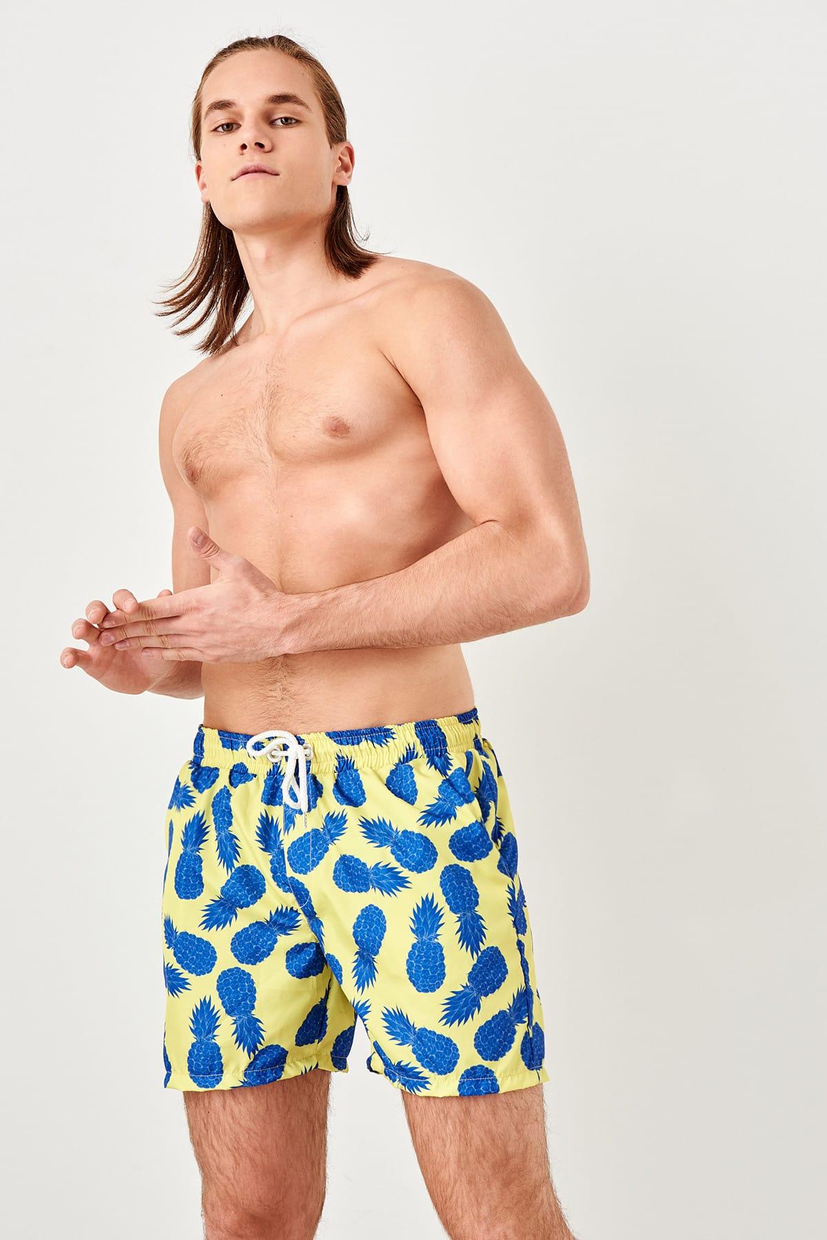 Trendyol Green male pineapple patterned mermaid shorts