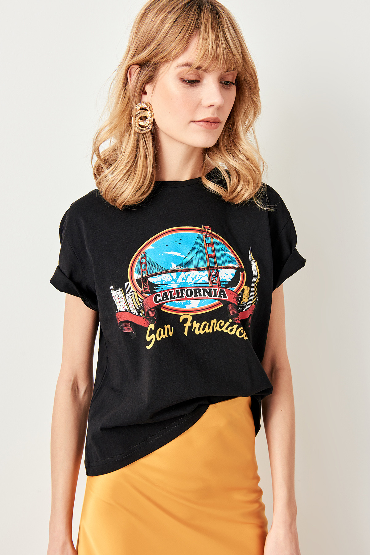 Trendyol Black San Francisco Printed Basic knitted T-shirt