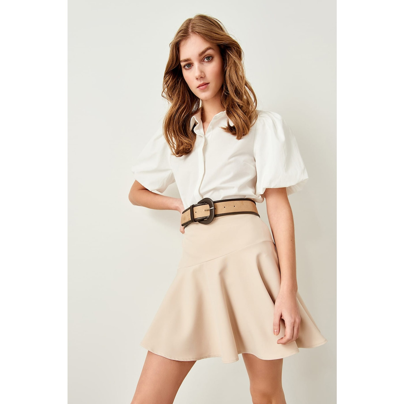 Trendyol Beige Hand-Wheel Skirt