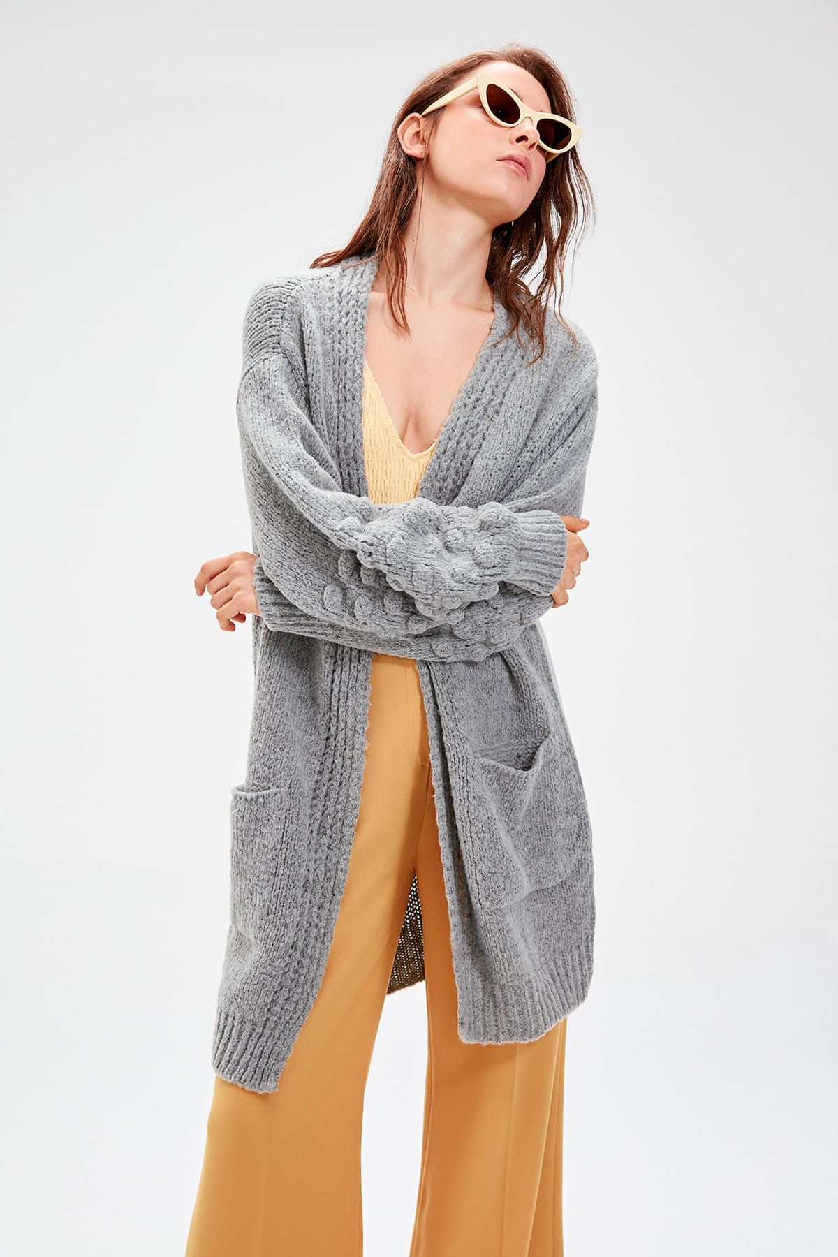 Trendyol Grey Sleeve Detailed Knitwear Cardigan