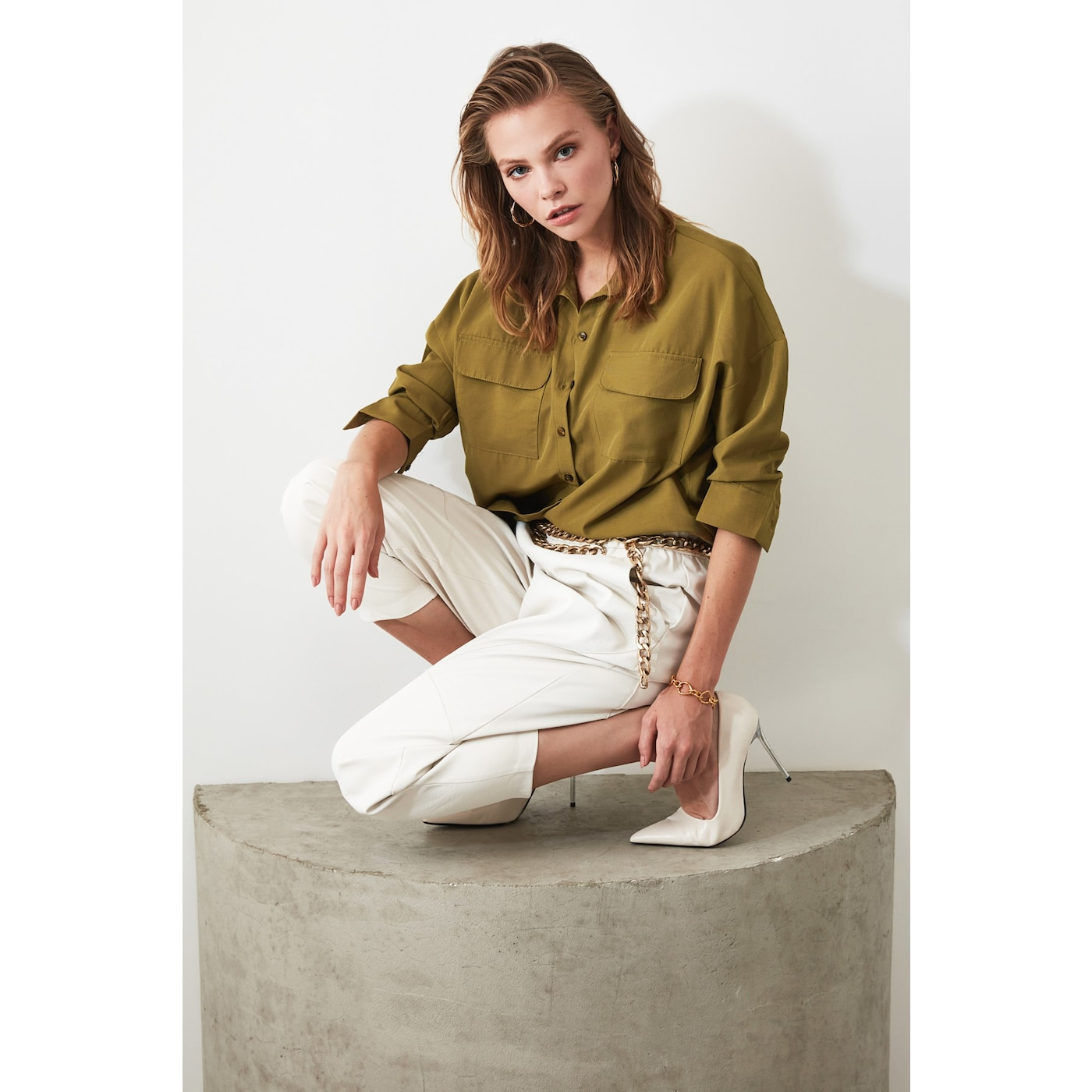 Trendyol Khaki Pocket Detailed Shirt