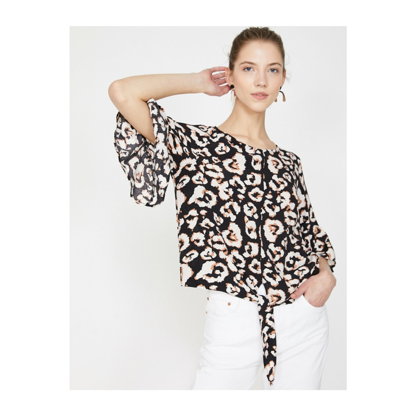 Koton Women Black Ecru Floral Patterned Blouse