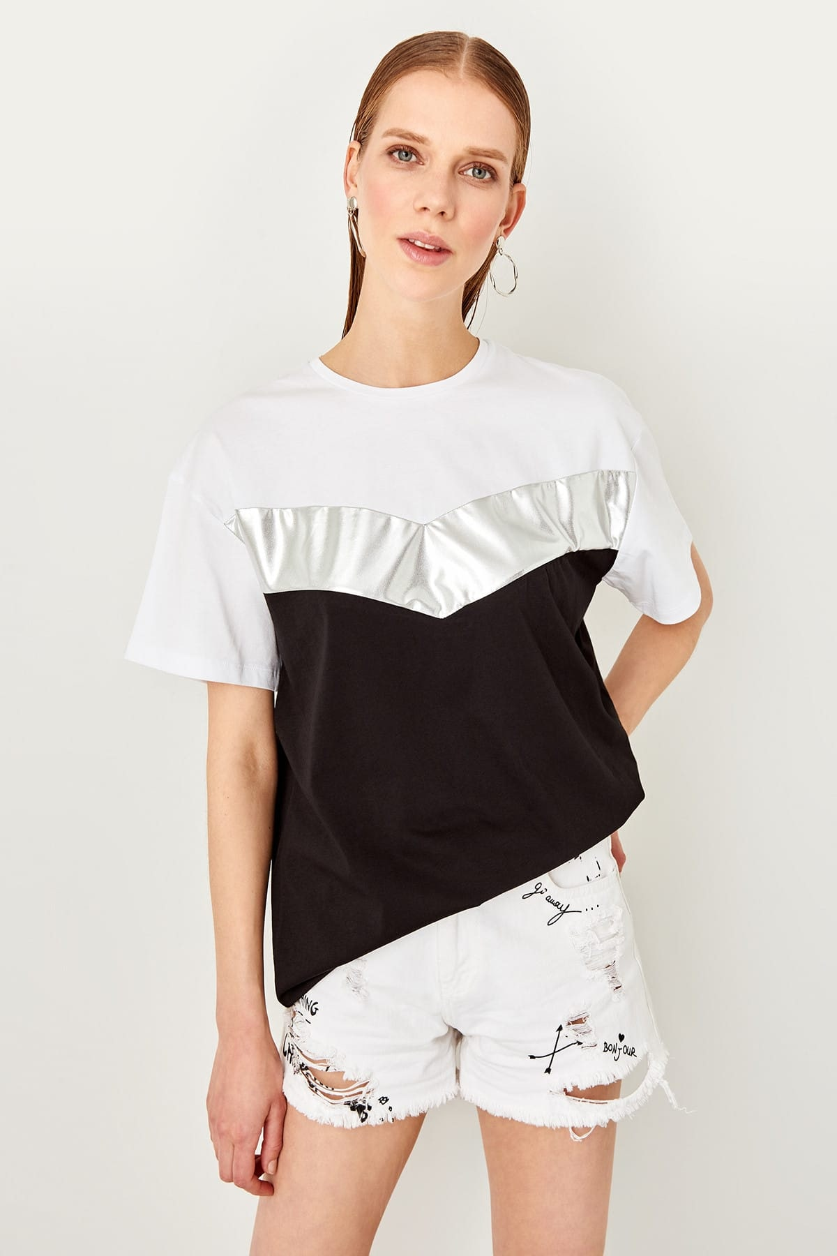 Trendyol Multicolor color blocky Boyfriend Shiny knitted T-shirt