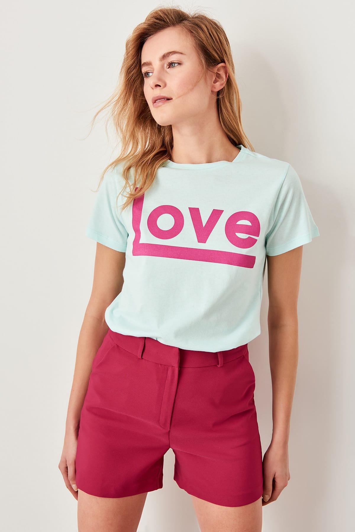 Trendyol Mint Print Basic Knitting t-shirt