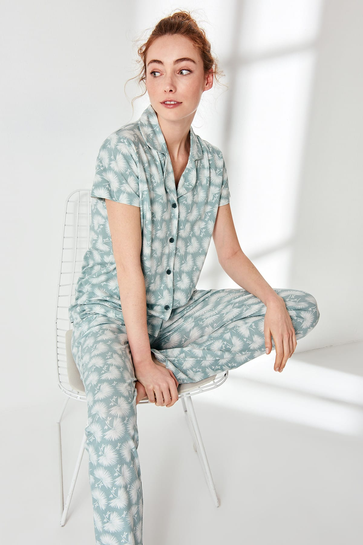 Trendyol Blue-Button Pajama Set