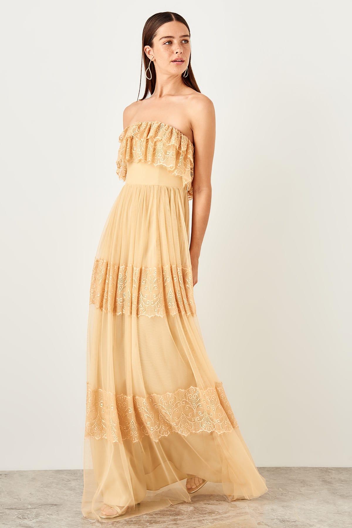 Trendyol dámske večerné šaty s čipkou a volánmi
