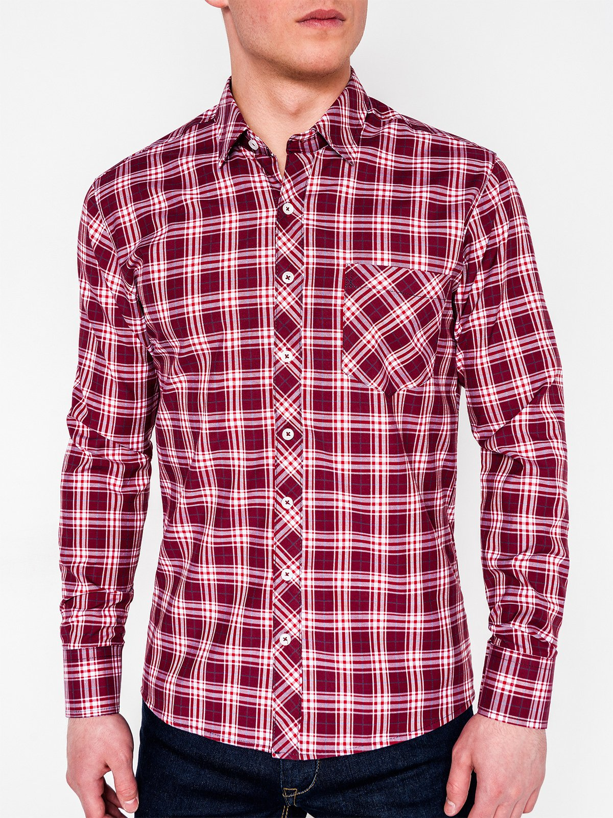 Ombre Clothing Men's check shirt with long sleeves K419