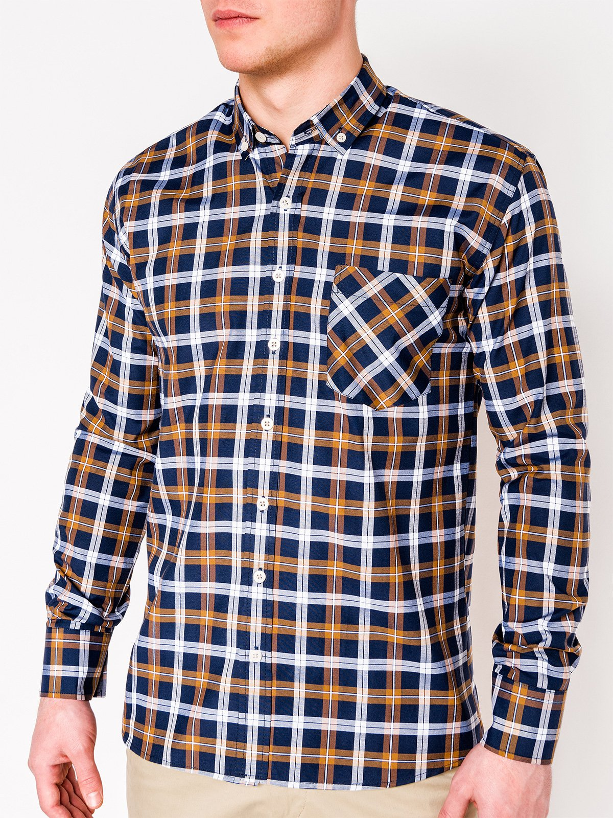 Ombre Clothing Men's check shirt with long sleeves K397