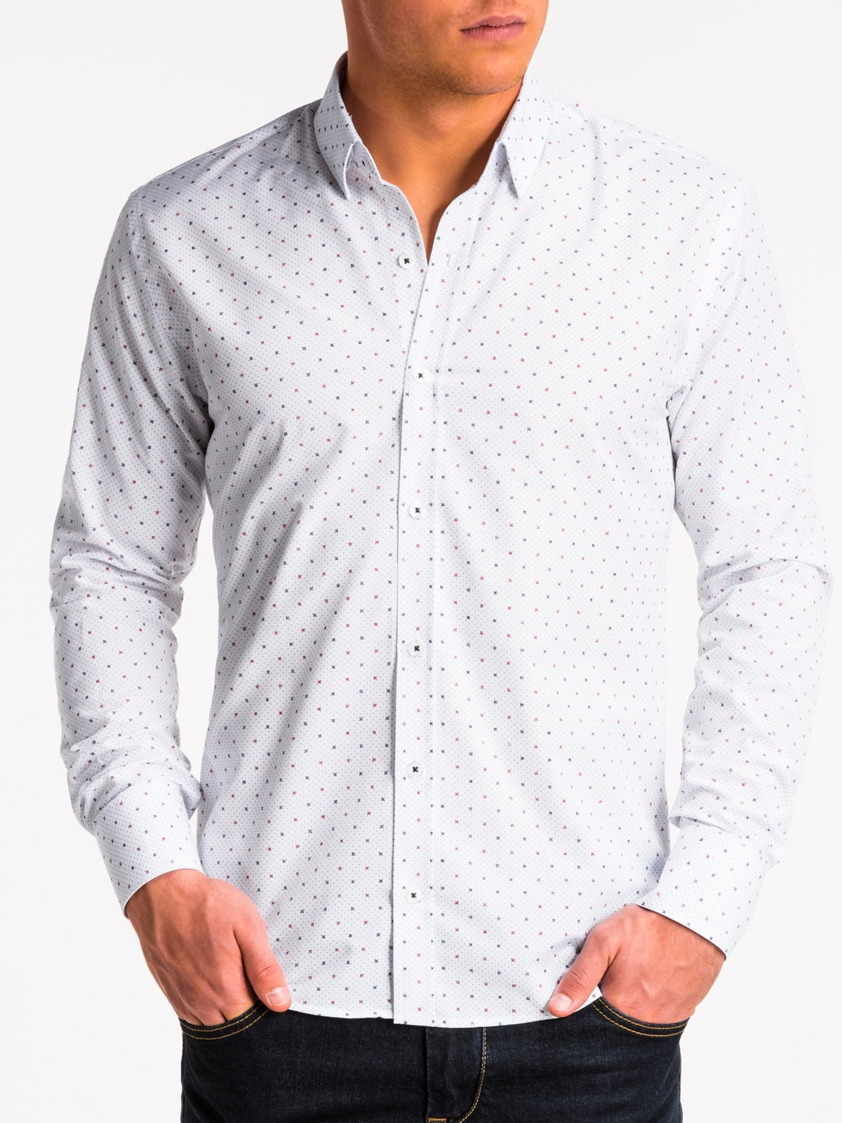 Ombre Clothing Men's elegant shirt with long sleeves K470
