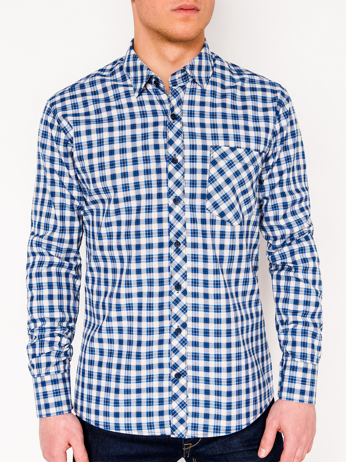 Ombre Clothing Men's check shirt with long sleeves K422