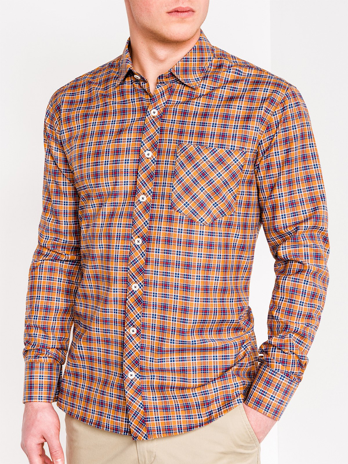 Ombre Clothing Men's check shirt with long sleeves K421