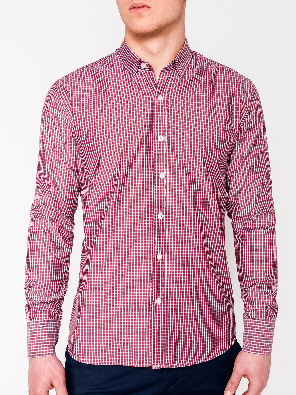Ombre Clothing Men's check shirt with long sleeves K437