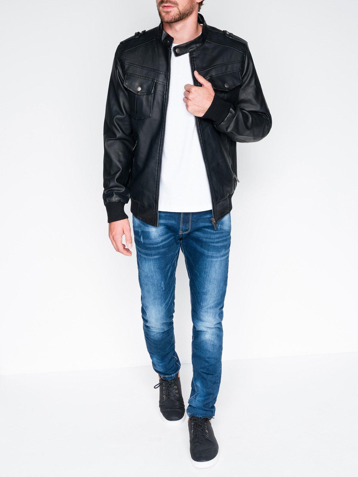 Ombre pánska prechodná kožená bunda
