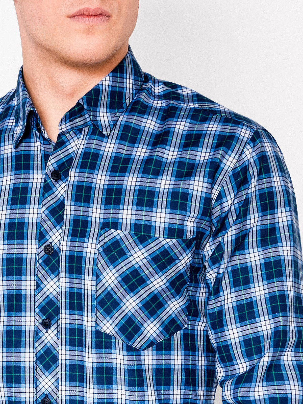 Ombre Clothing Men's check shirt with long sleeves K415