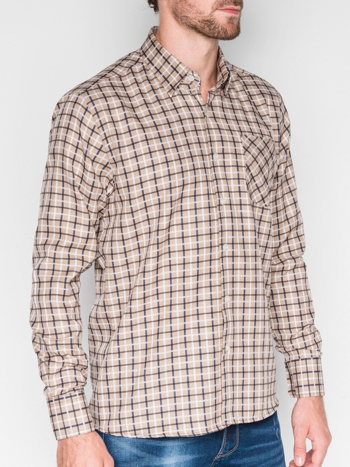 Ombre Clothing Men's check shirt with long sleeves K429