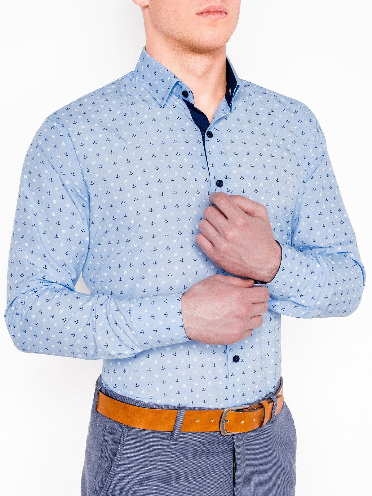 Ombre Clothing Men's elegant shirt with long sleeves K314
