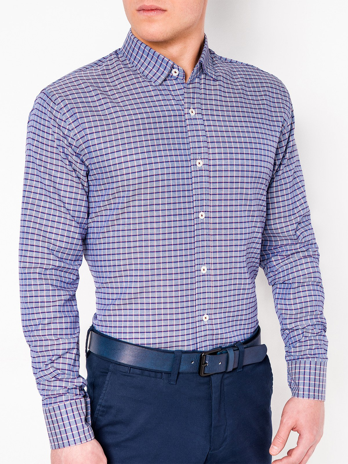 Ombre Clothing Men's check shirt with long sleeves K439