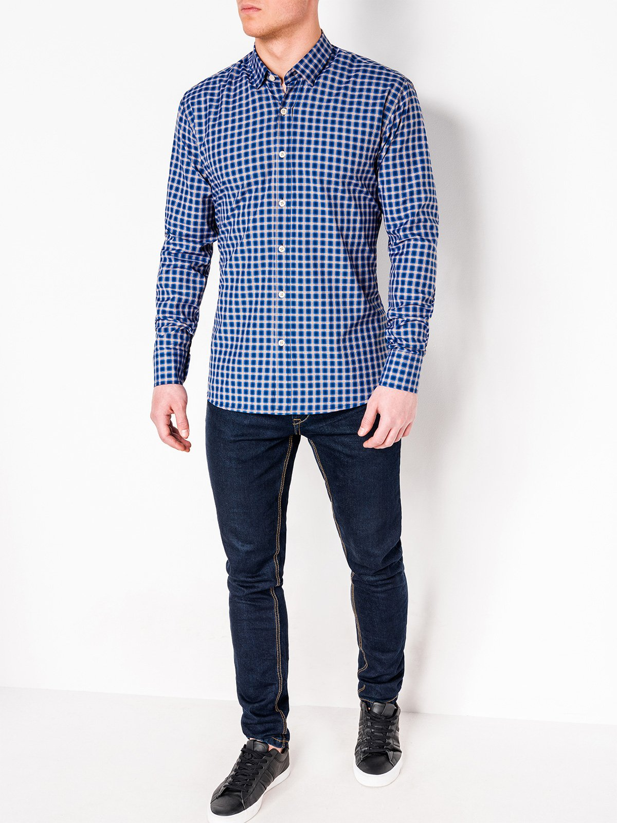 Ombre Clothing Men's check shirt with long sleeves K438