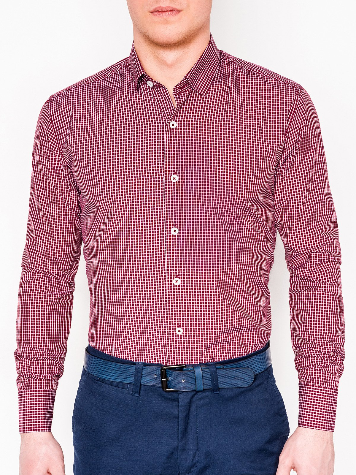 Ombre MEN'S CHECK SHIRT WITH LONG SLEEVES K426