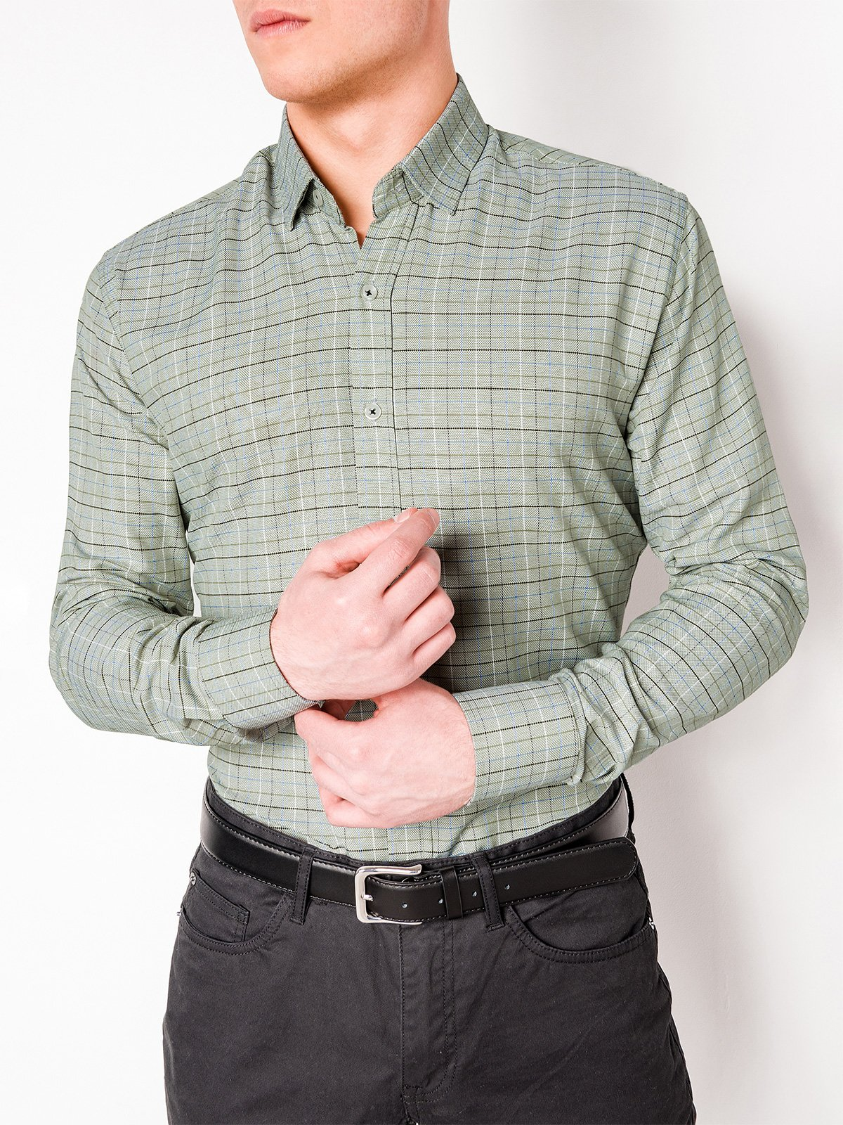 Ombre Clothing Men's check shirt with long sleeves K433
