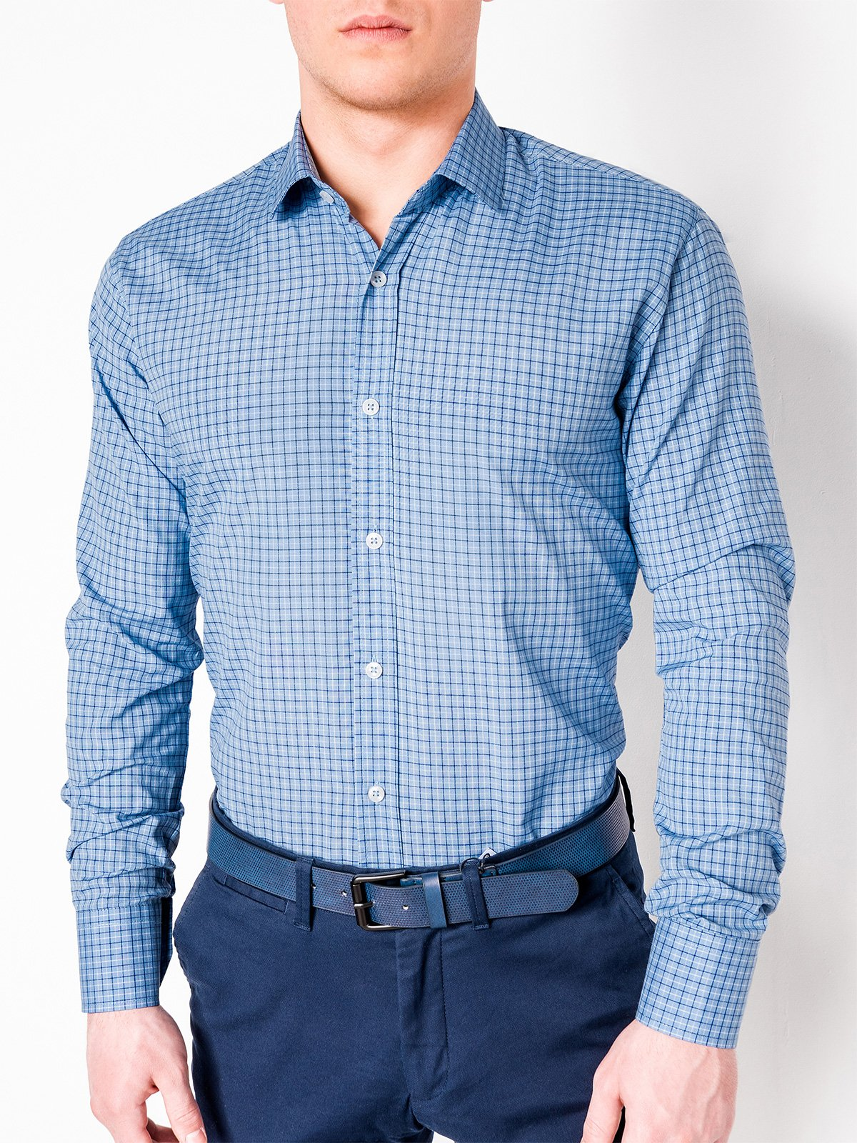 Ombre Clothing Men's check shirt with long sleeves K434
