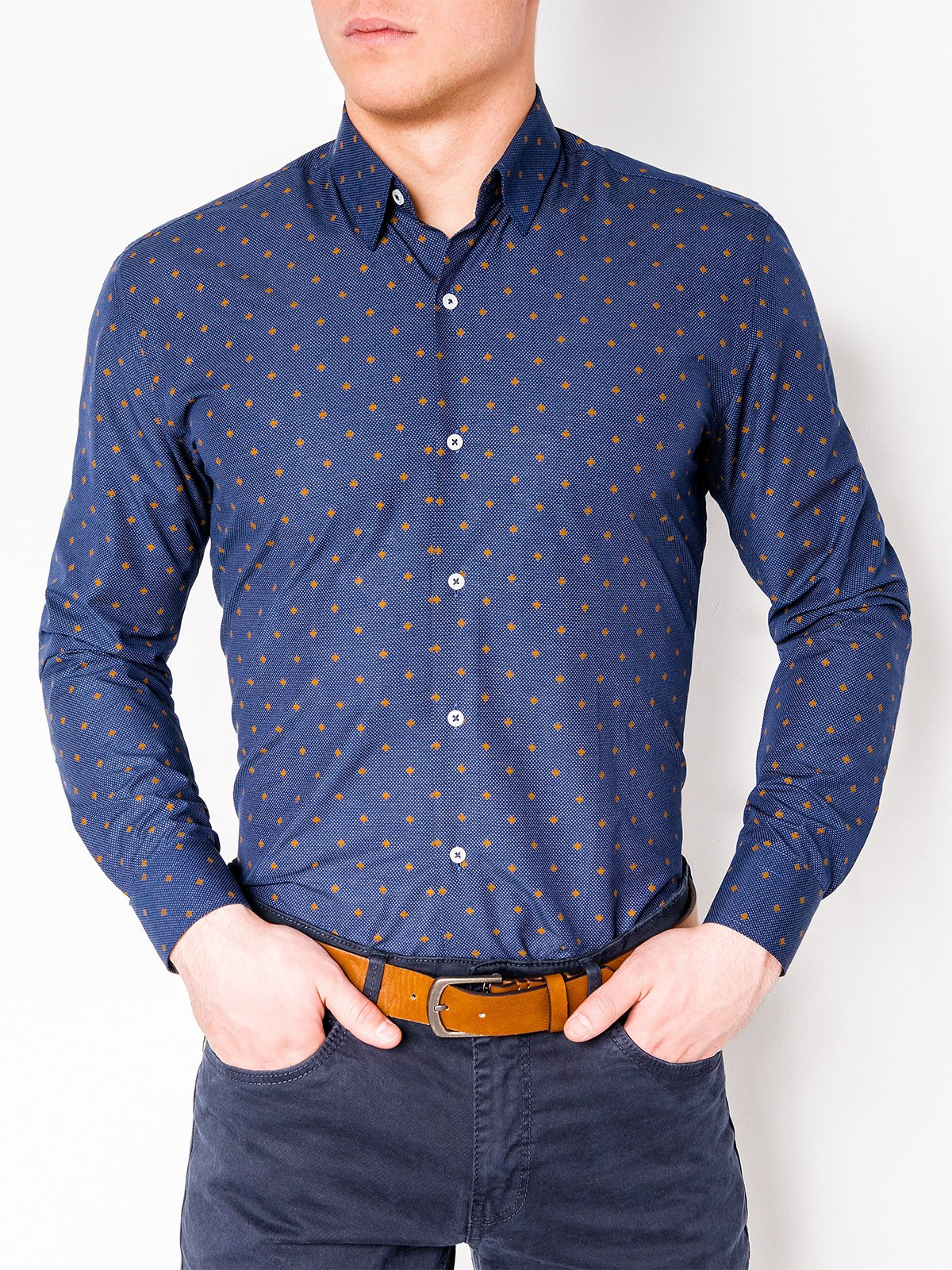 Ombre Clothing MEN'S ELEGANT SHIRT WITH LONG SLEEVES K463