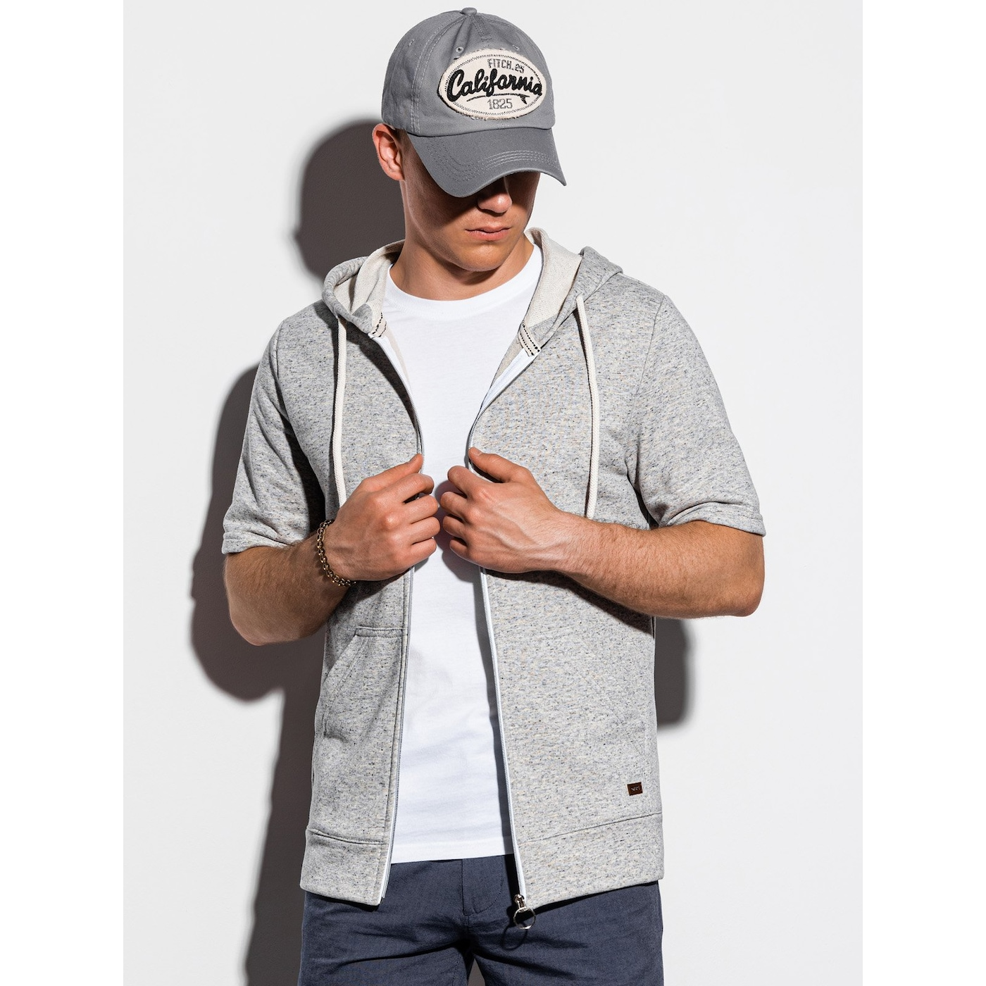 Ombre Clothing Men's hoodie with short sleeves B1068