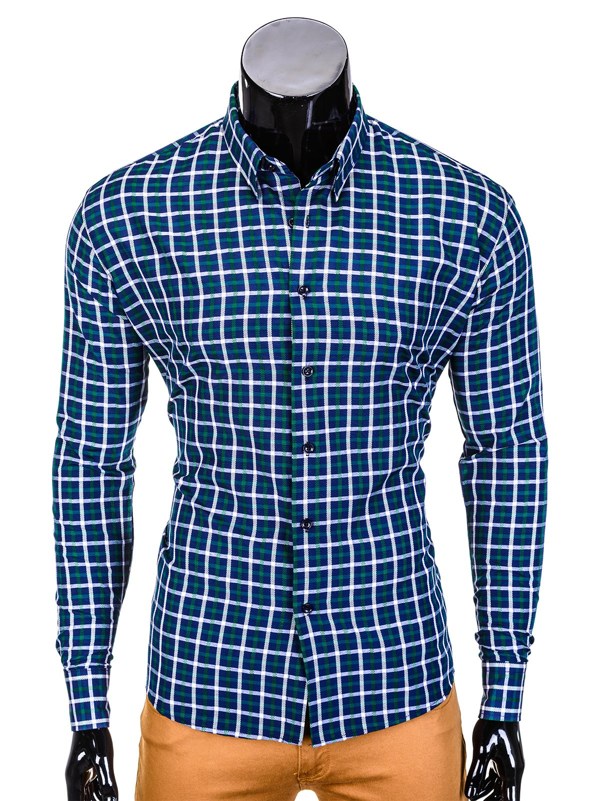 Ombre Clothing Men's check shirt with long sleeves K387