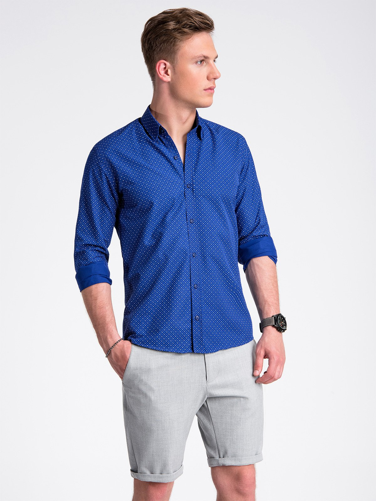 Ombre Clothing Men's shirt with short sleeves K477