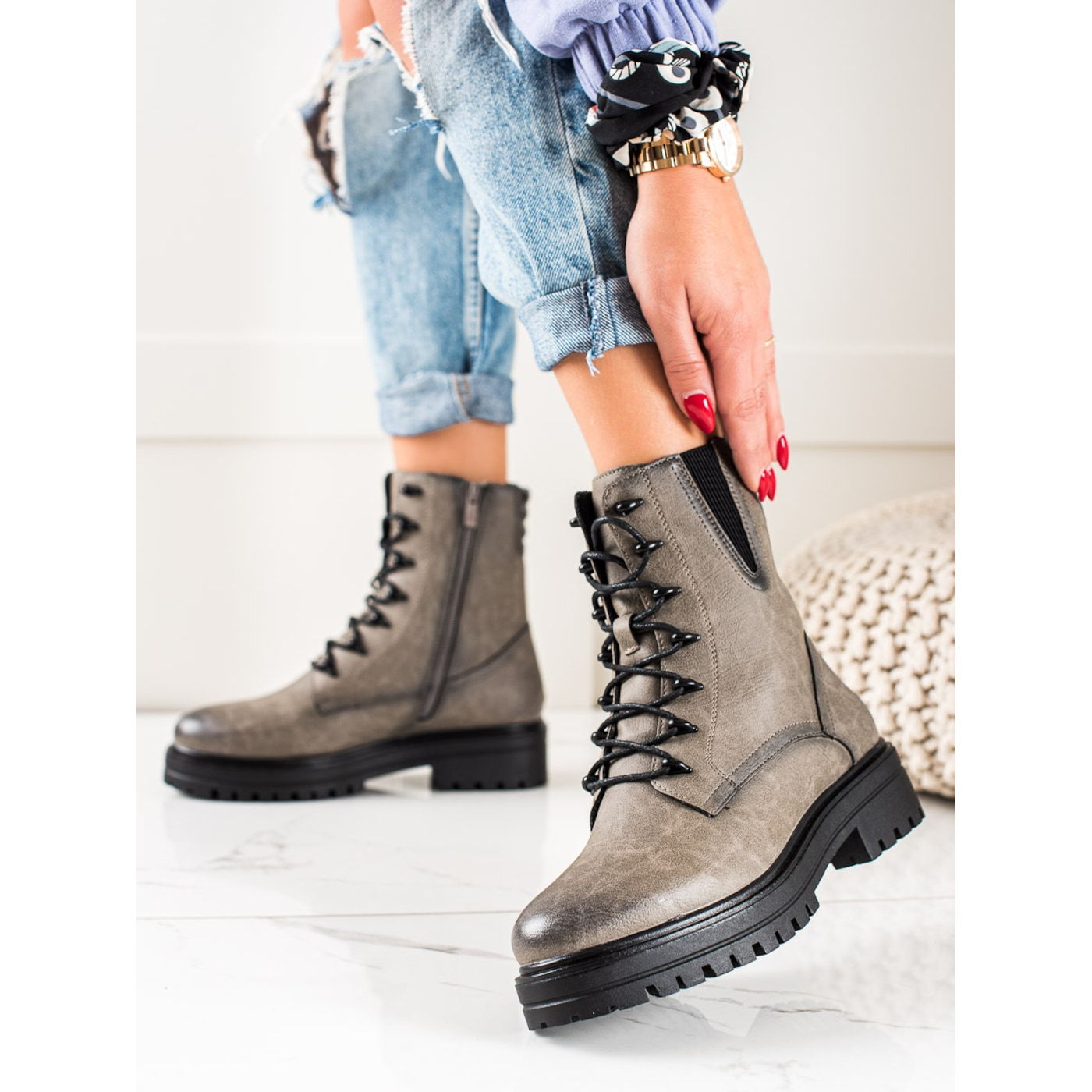 SERGIO LEONE LACE-UP WORKERY ANKLE BOOTS WITH PATTERN