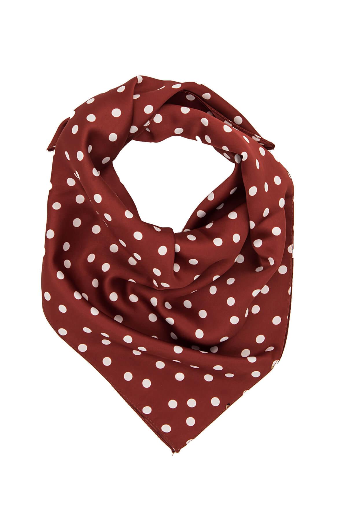 Trendyol Burgundy Polka-Dot Patterned Scarf