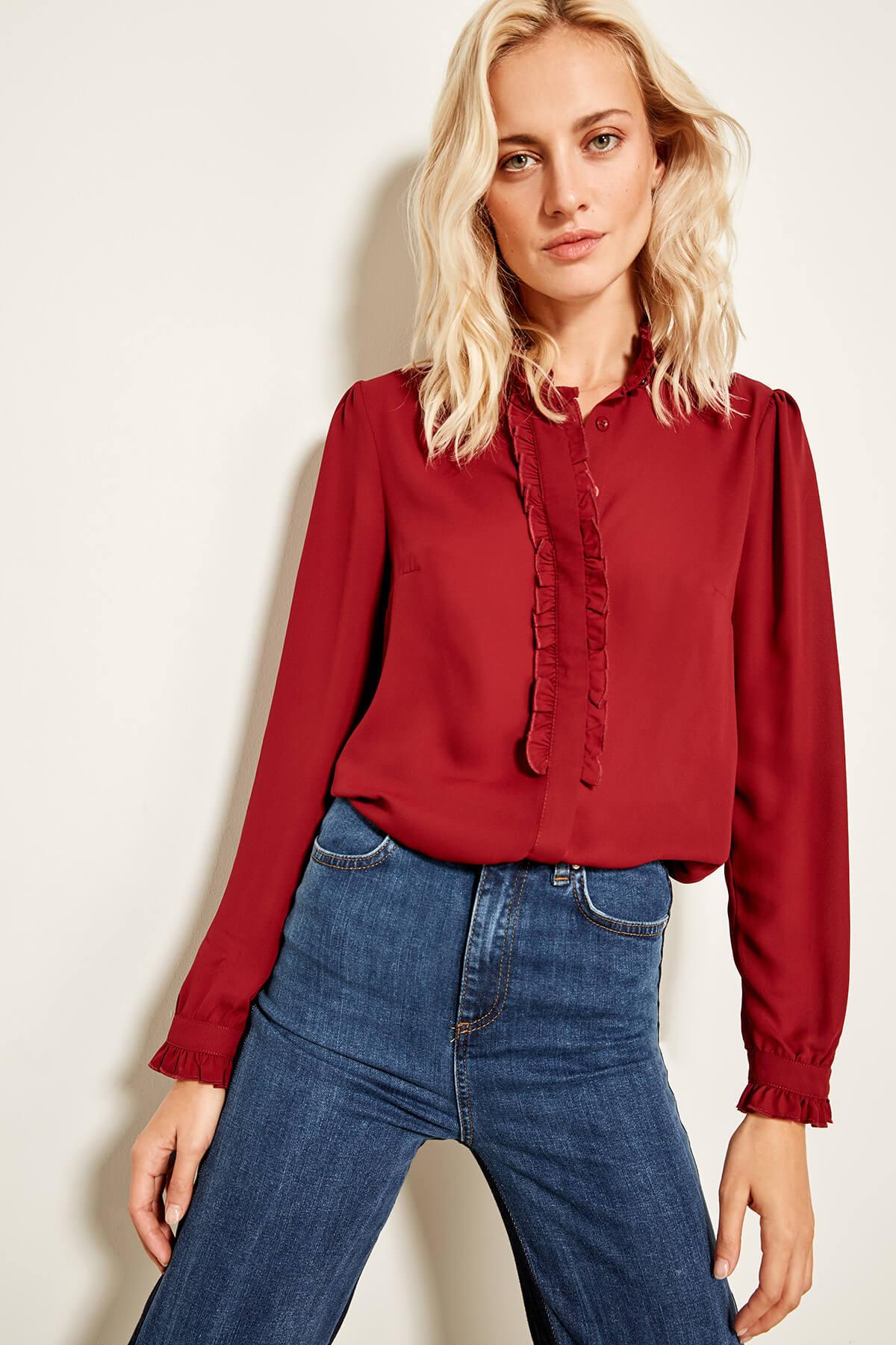 Trendyol Burgundy Ruffle Detailed Shirt