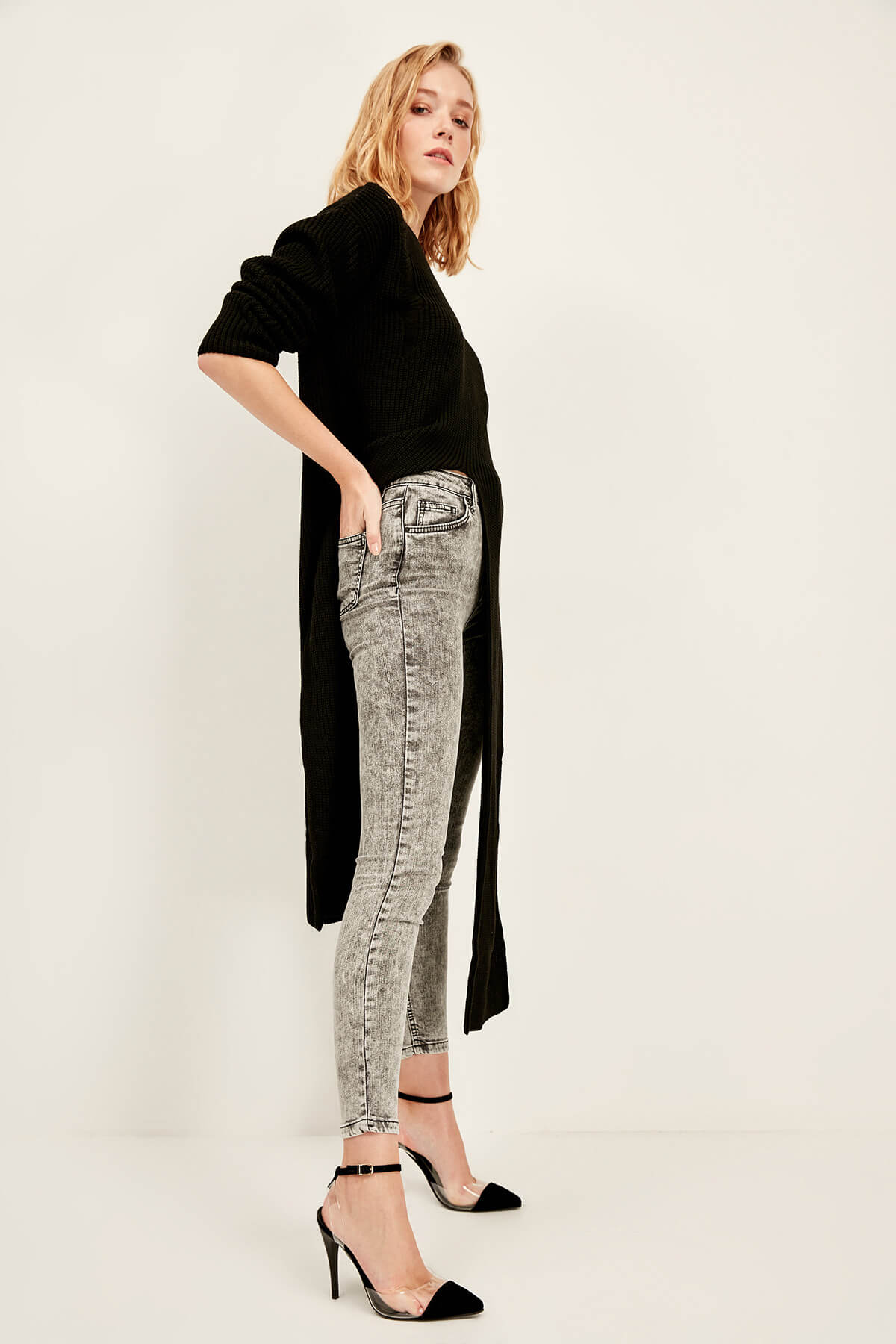Trendyol Grey Acid Wash High Waist Skinny Jeans