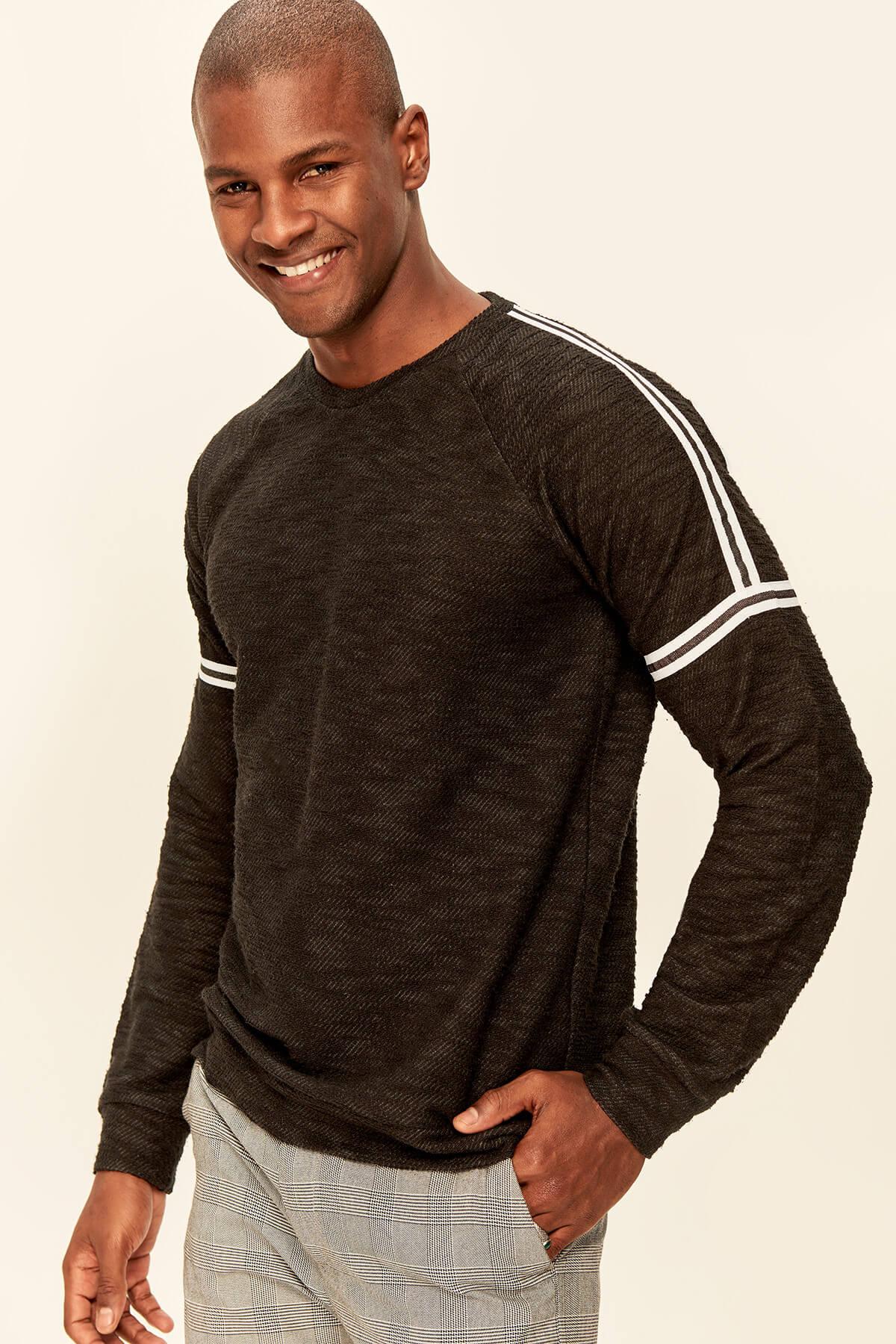 Trendyol Black Men's Sweatshirts-Striped