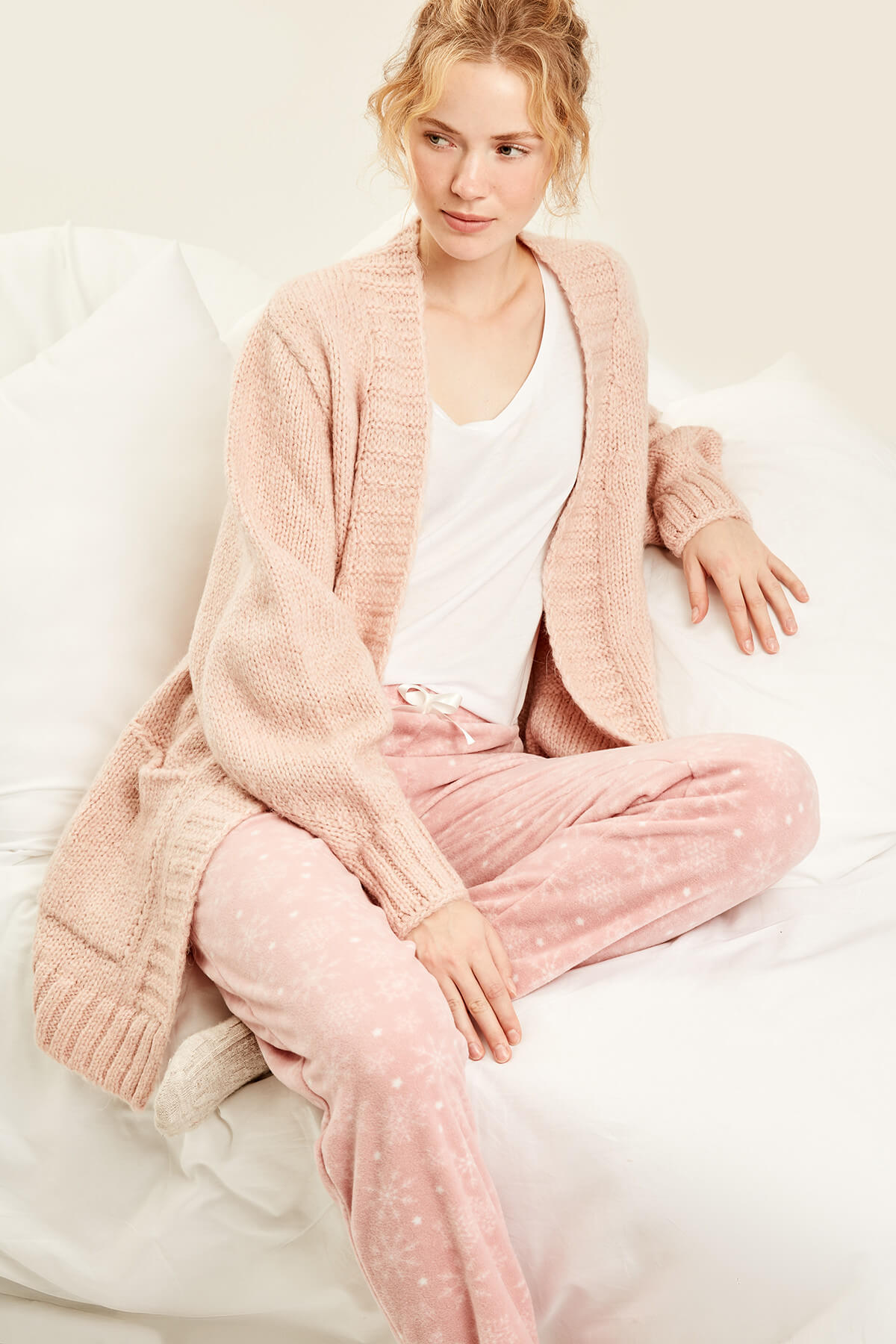 Trendyol Pink Textured Fleece Bottoms
