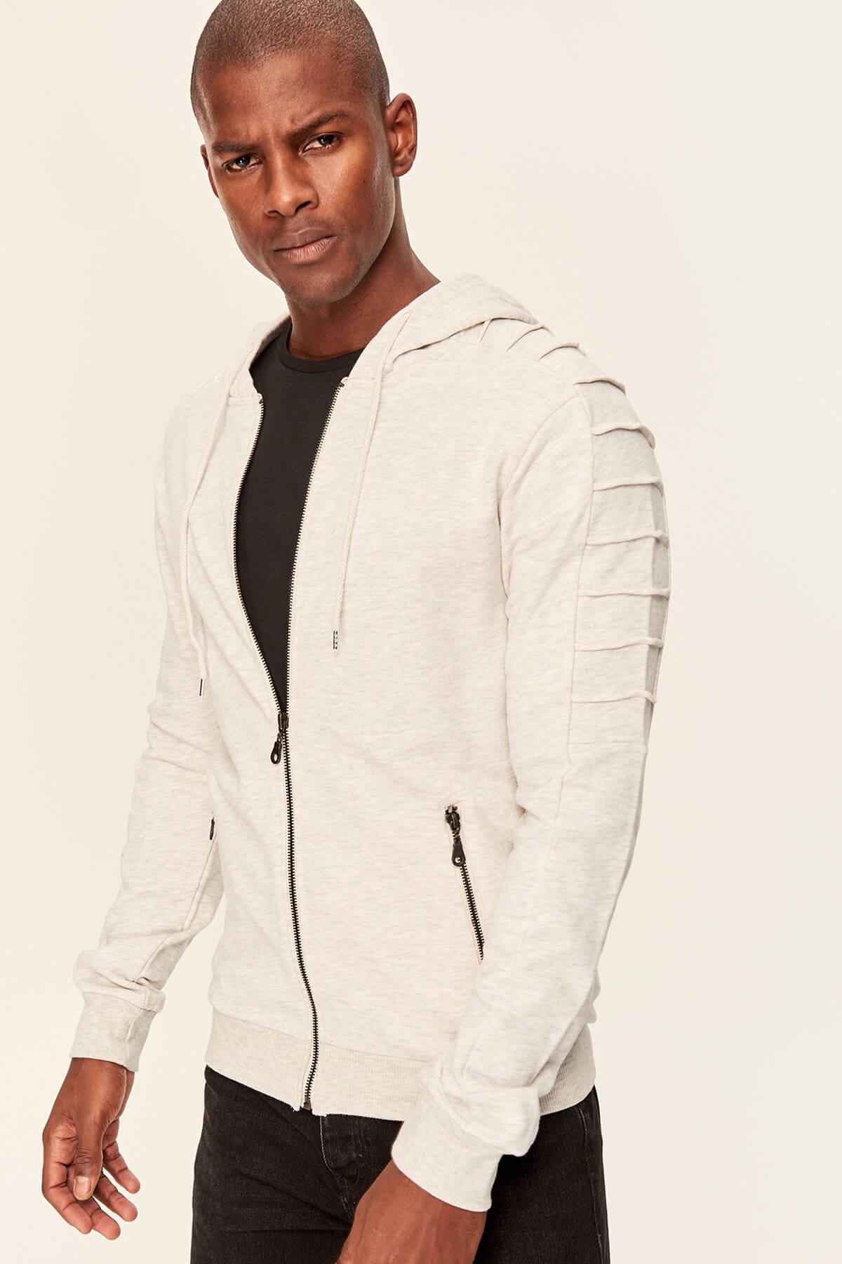 Trendyol Stone Men's Sweatshirts-Hooded Zippered Arm Ribbed