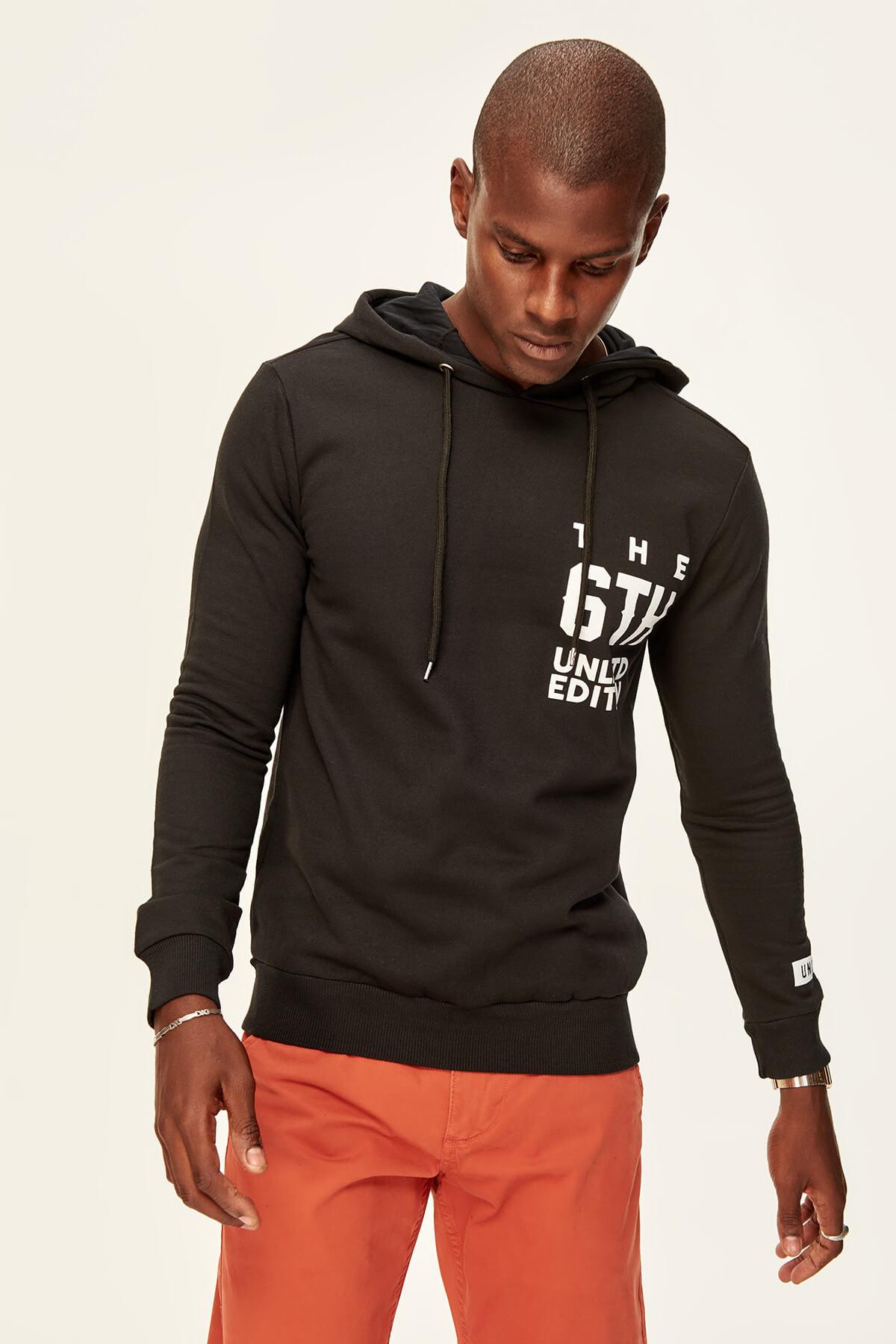 Trendyol Black Boys Cotton Sweatshirt-Hooded