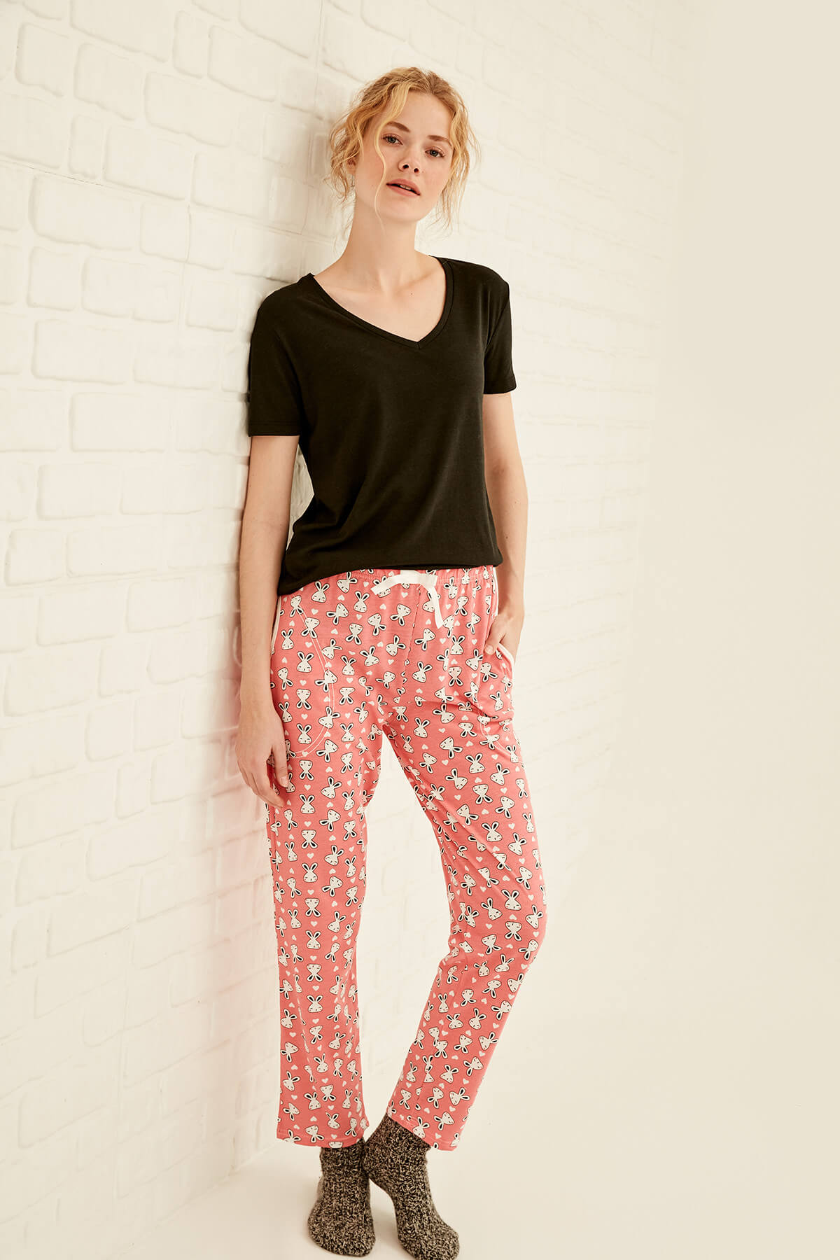 Trendyol Pink Rabbit Patterned Bottoms