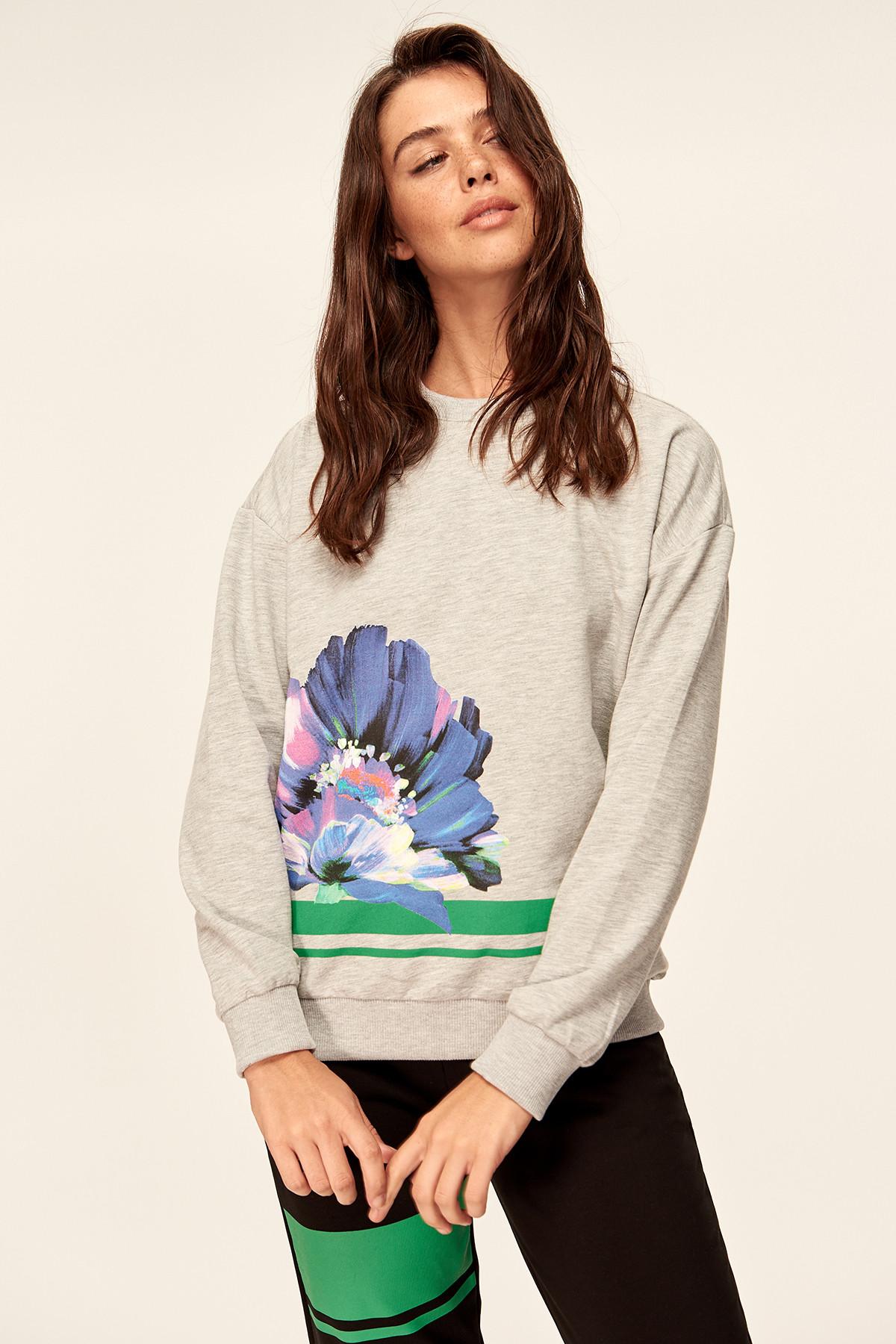 Trendyol Grey Printed Knit Sweatshirt