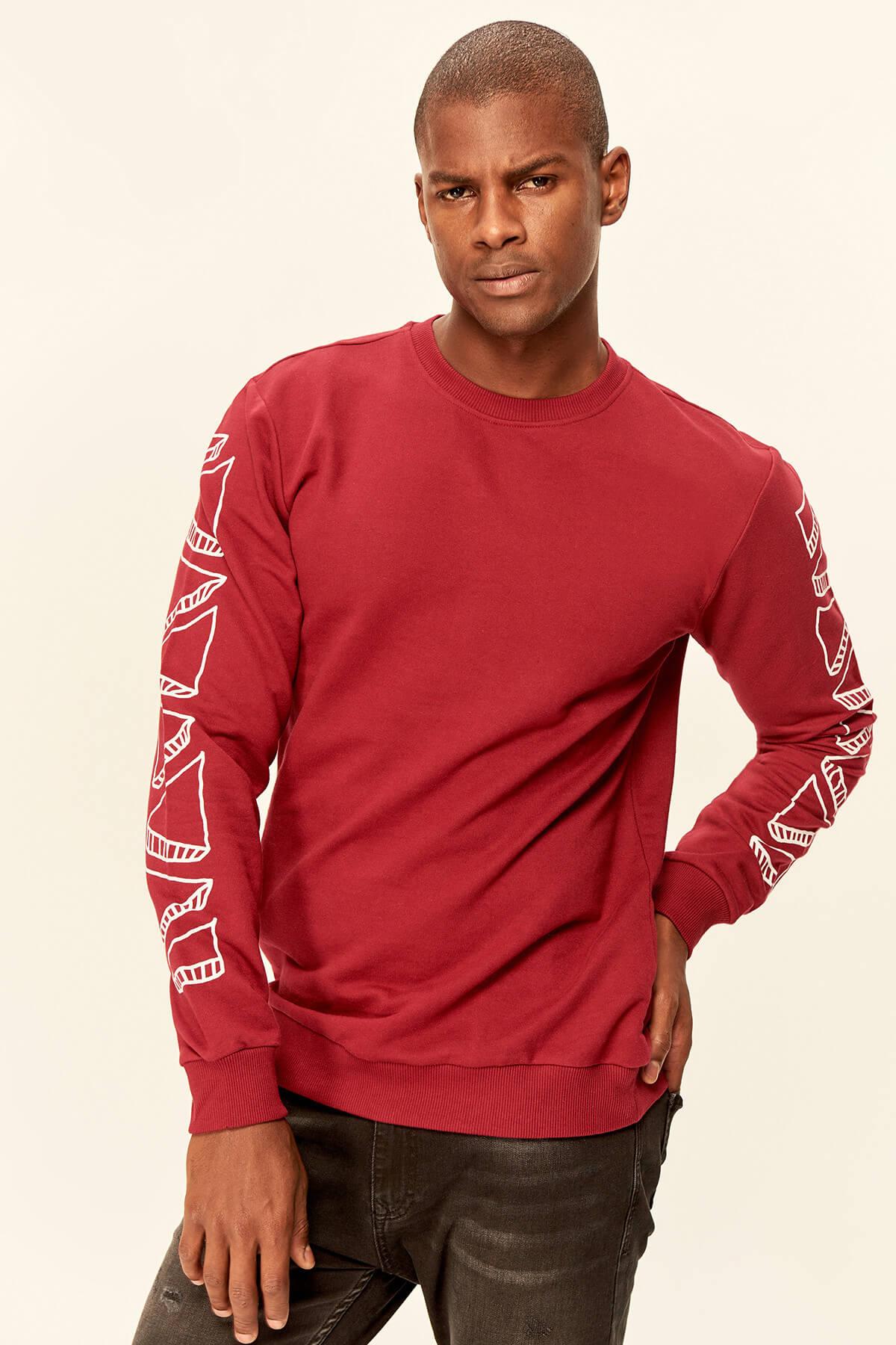 Trendyol Burgundy Mens Sweatshirt-Graphic-Printed