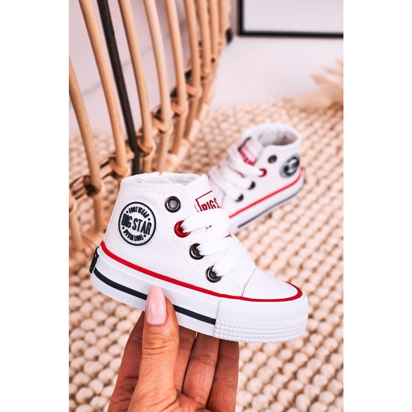 Children's High Sneakers With A Zipper BIG STAR HH374187 White