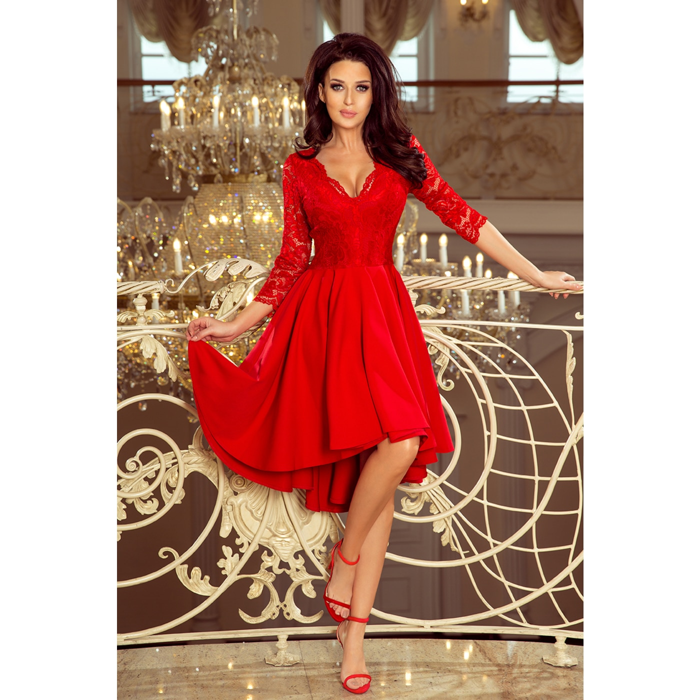 Levně 210-6 NICOLLE - dress with a longer back with a lace neckline - RED